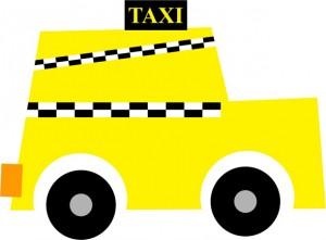 Los amantes se mueven en taxi